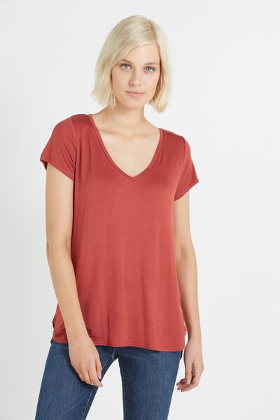 Keira Short Sleeve V-Neck T Shirt, ROSEWOOD