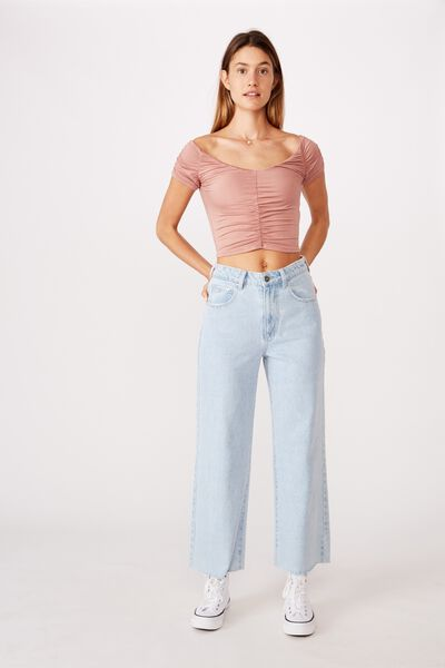 Lizzie Gathered Short Sleeve Top, OLD ROSE