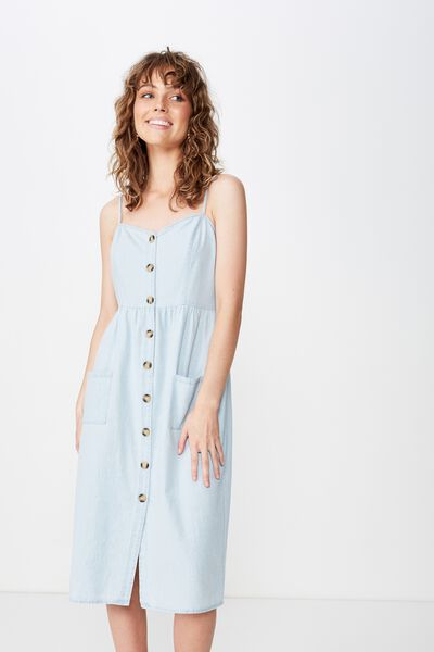 Woven Beth Button Front Midi Dress, LIGHT CHAMBRAY