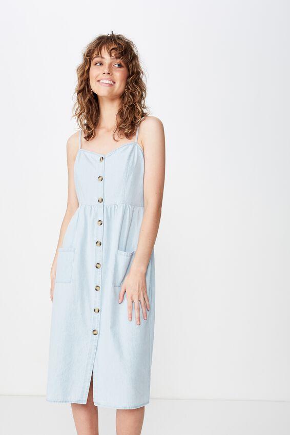 Woven Beth Button Front Midi Dress, LIGHT CHAMBRAY