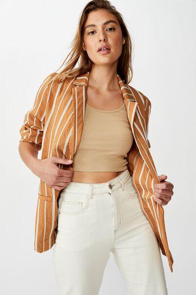 Lightweight Textured Blazer, CHINOIS/GARDENIA