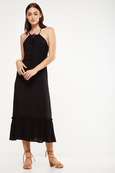 Woven Clover High Neck Maxi Dress, BLACK