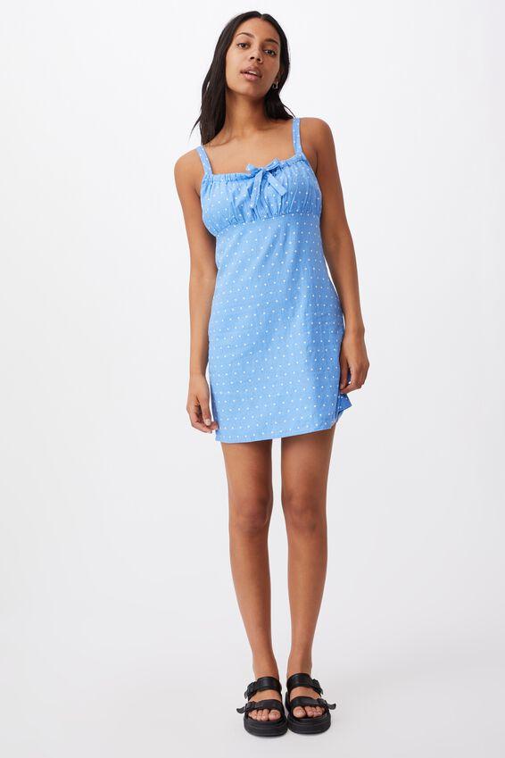 Woven Layla Tie Front Mini Dress, AMY SPOT CORNFLOWER BLUE