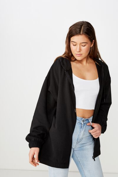 Hannah Oversized Zip Thru Hoodie, WASHED BLACK