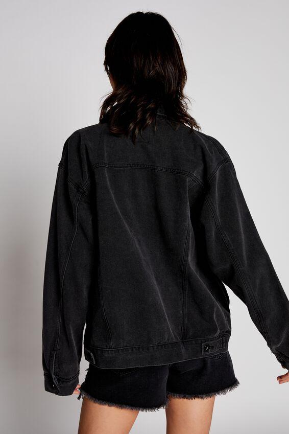 Not Your Boyfriends Denim Trucker Jacket, SUPER WASHED BLACK