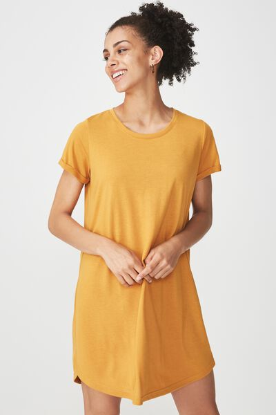 Tina Tshirt Dress 2, SPRUCE YELLOW