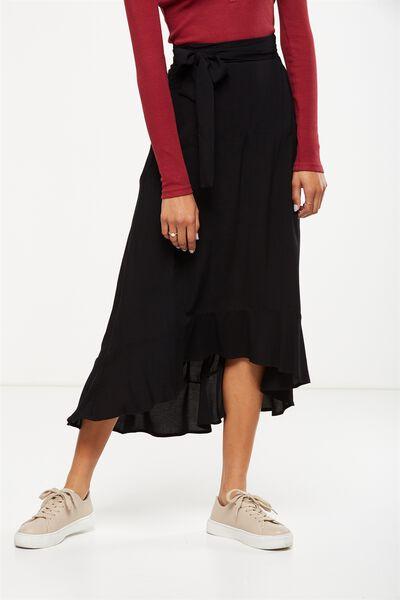 Woven Carlette Maxi Skirt, BLACK