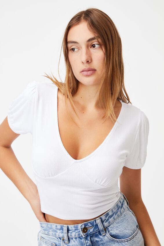 Annabelle Short Sleeve Top, WHITE