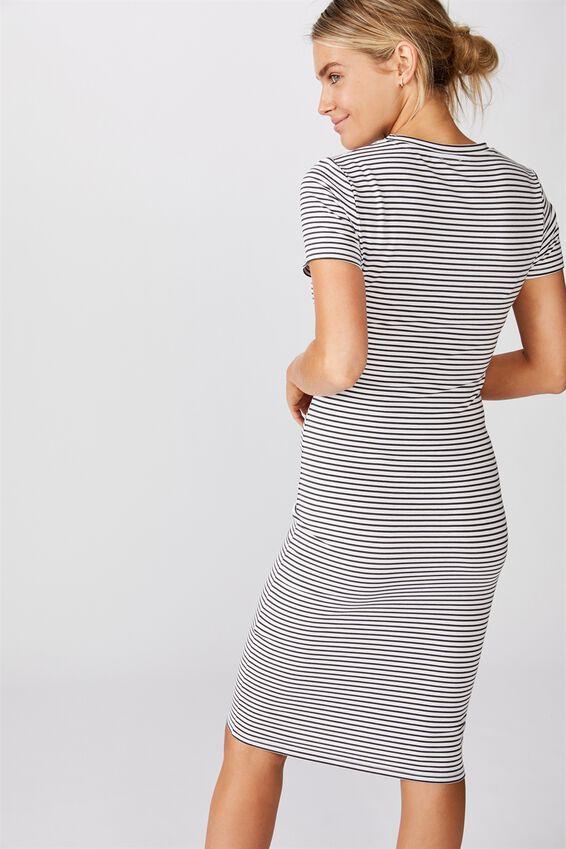 Essential Short Sleeve Midi Dress, LULU STRIPE WHITE RAVEN