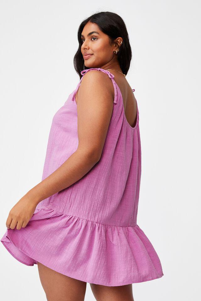 Curve Woven Mia Tiered Tunic Dress, PINK MAUVE