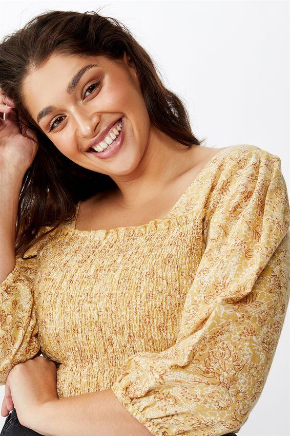 Curve Puff Sleeve Shirred Top, ANNA FLORAL PAISLEY JOJOBA