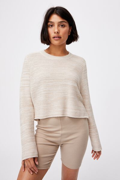 Cotton Cropped Pullover, TAUPE WHITE TWIST
