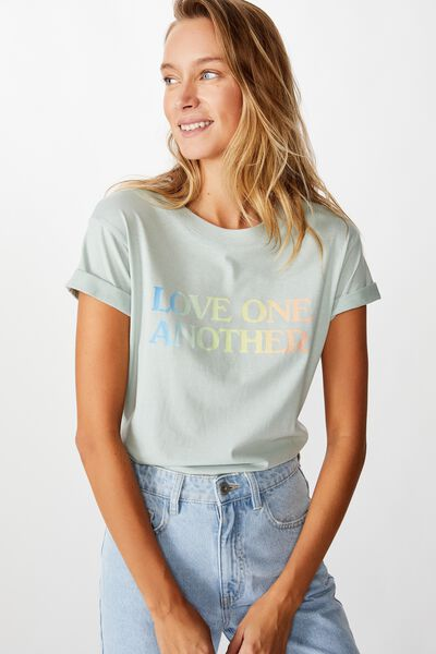 Classic Slogan T Shirt, LOVE ONE ANOTHER/CLOUD BLUE