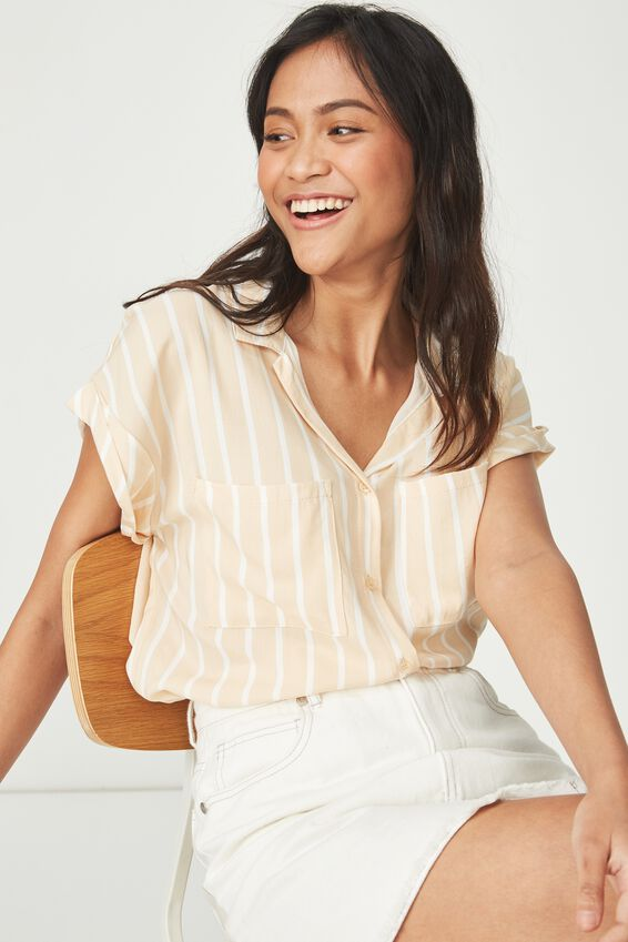 Emily Short Sleeve Shirt, KAYLA OAT WHITE