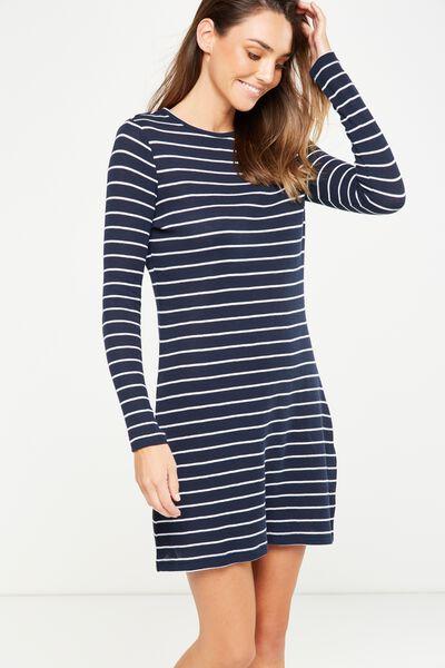 Tina Long Sleeve Tshirt Dress, MOONLIGHT/WHITE LARGE WIDE STRIPE