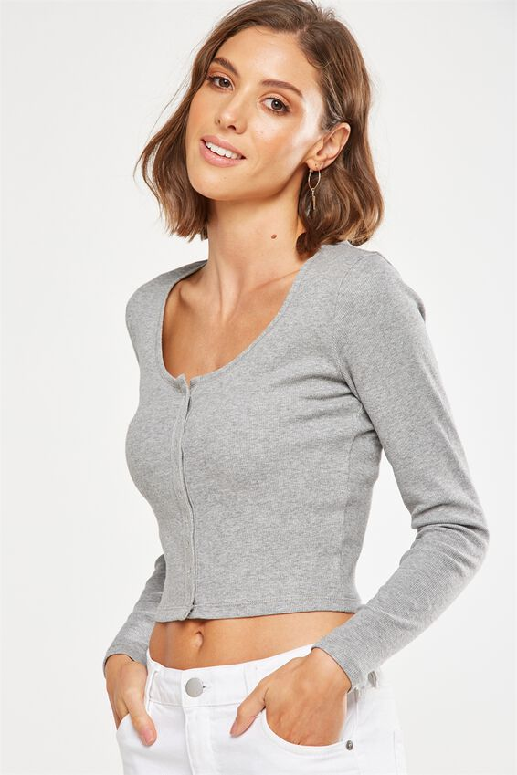 Matilda Cropped Henley Long Sleeve Top, GREY MARLE