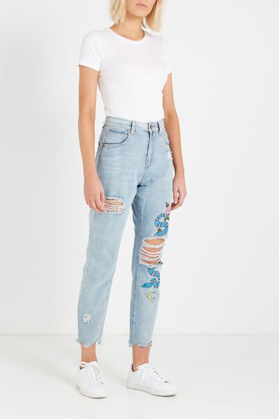 High Rise Relaxed 90S Jean, MOM JEAN BLUE UTOPIA SNAKES
