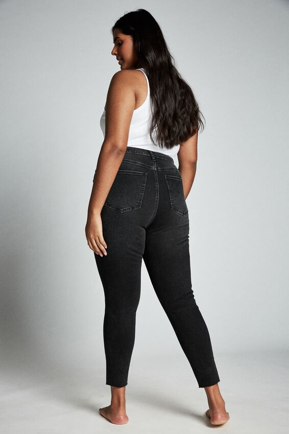 Plus Size Adriana High Skinny Jean, WASHED BLACK RIPS