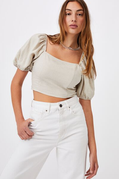 Evie Balloon Sleeve Cropped Blouse, FAWN