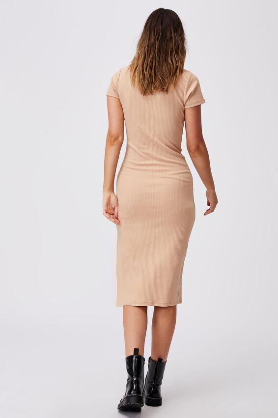 Essential Split Short Sleeve Midi Dress, SANDY PINK
