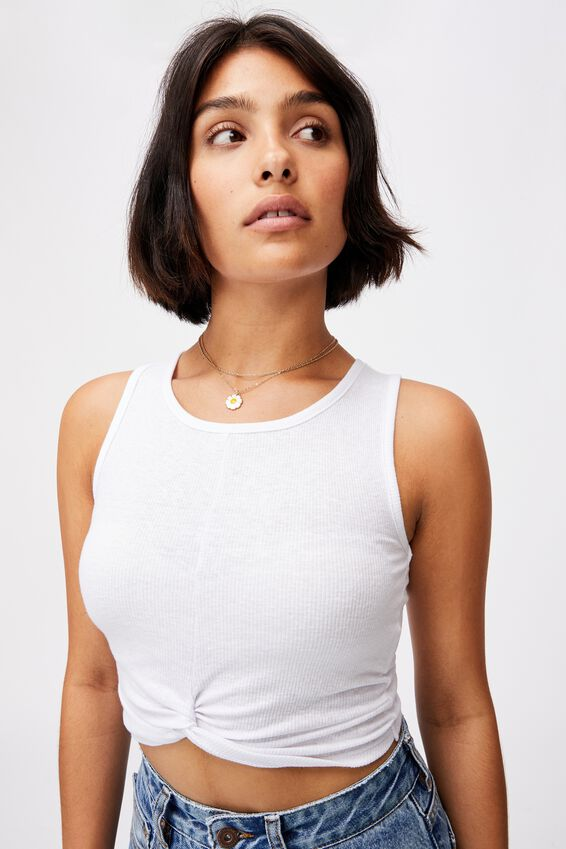 Tilly Twist Front Tank, WHITE