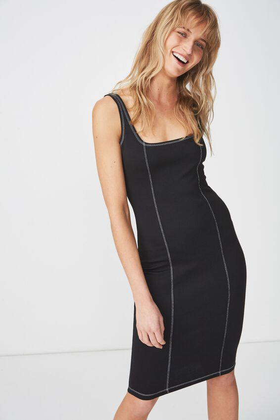 Kimi Scooped Bodycon Midi Dress, BLACK WITH CONTRAST STITCH