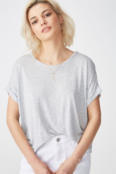 The Relaxed Tee, LIGHT GREY MARLE