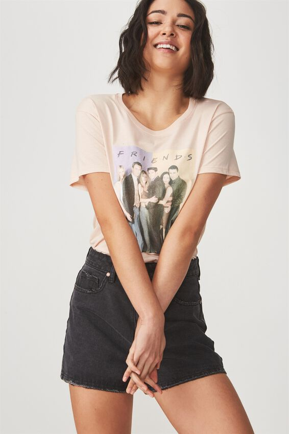 Friends Graphic T Shirt, LCN FRIENDS COLOUR BLOCK/MISTY PINK