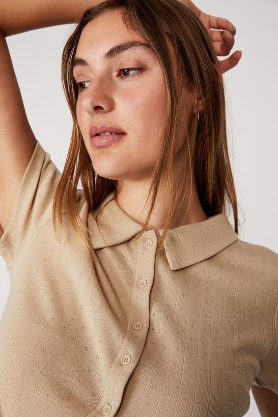 Amy Polo Short Sleeve Tee, LATTE