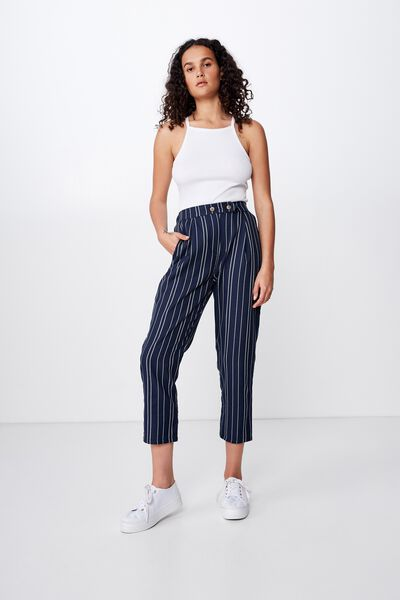 Amy Tapered Pant, GRACIE STRIPE TOTAL ECLIPSE