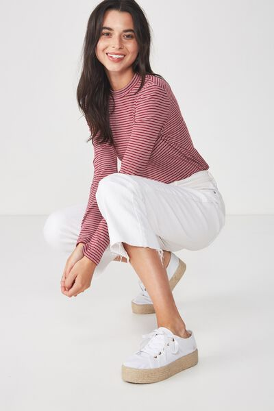 Mock Neck Chop Long Sleeve, RAY STRIPE RUMBA RED/WHITE