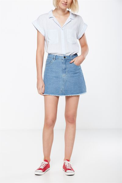 The Re-Made Mini Denim Skirt, VINTAGE BLUE