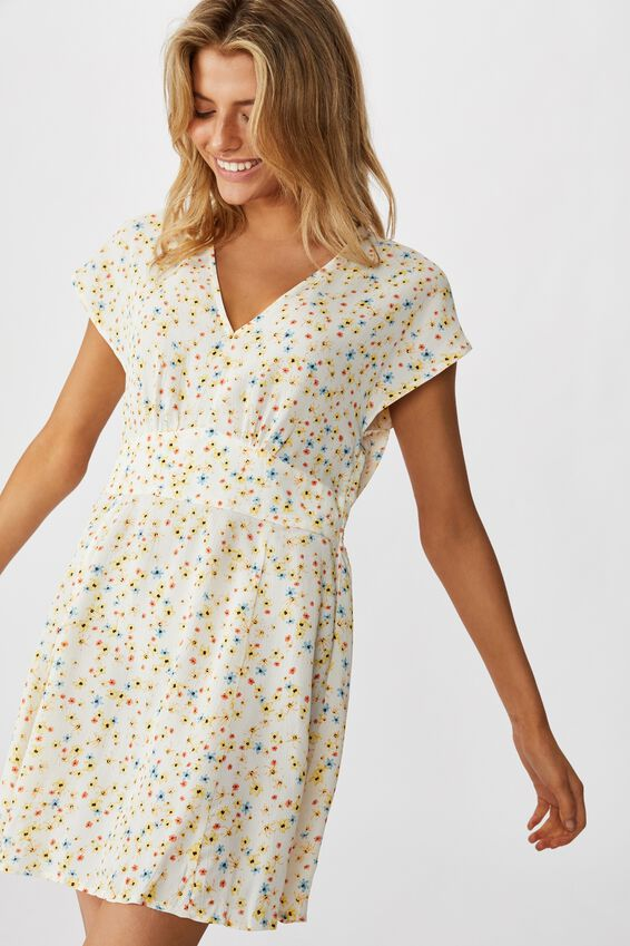 Woven Ultimate Tea Dress, LILY DITSY CANNOLI CREAM