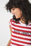 Tbar Rachael Graphic Tee Shirt, SAINT TROPEZ WHITE/CHILLI RED STRIPE