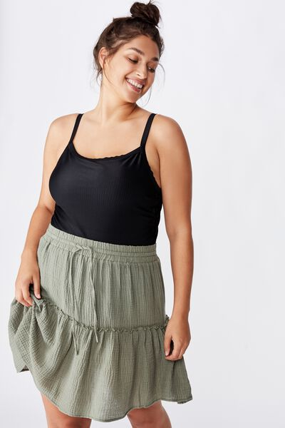 Curve Ruffle Tiered Beach Skirt, COOL AVOCADO