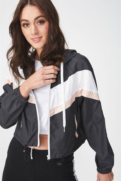 Nellie Spray Jacket, BLACK WITH WHITE BLUSH SPLICE