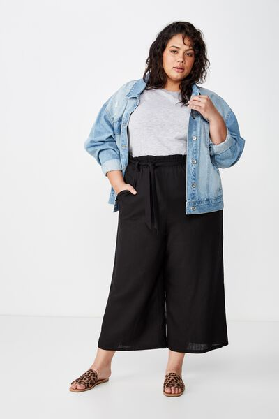 Curve Paper Bag Culotte, BLACK