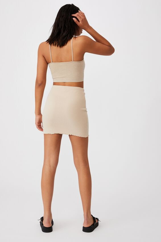 Streamline Ribbed Mini Skirt, LATTE