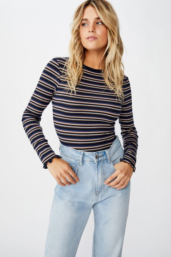 The Sister Long Sleeve Top, LOZ STRIPE TOTAL ECLIPSE