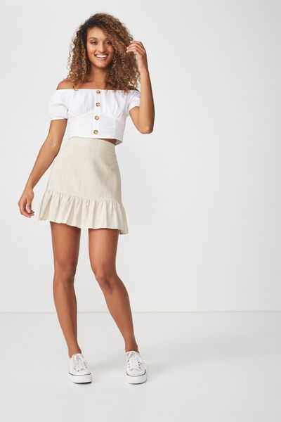 Woven Jordana Mini Skirt, LATTE MARLE