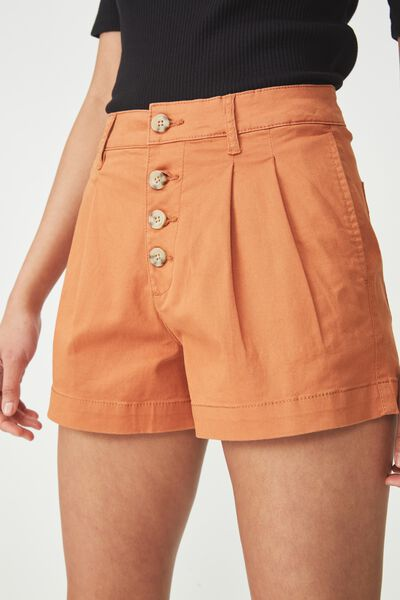 Button Front Short, AMBER BROWN