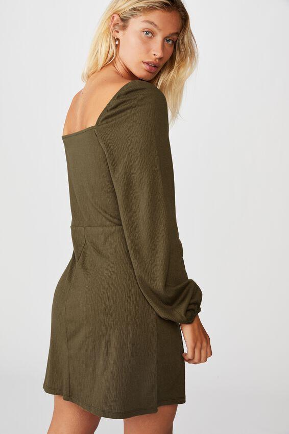 Fiona Long Sleeve Mini Dress, DARK OLIVE