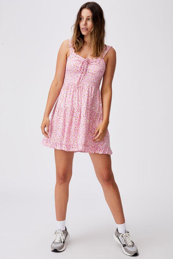 Woven Sandy Skater Dress, SOPHIE DITSY PINK CHERRY BLOSSOM
