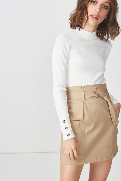 Woven Voss Utility Mini Skirt, LATTE