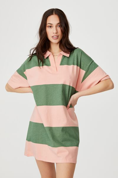 The Billy Rugby Tshirt Dress, RENEE RUGBY STRIPE PISTACHIO GREEN