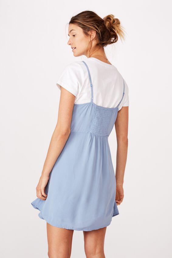 Woven 90S Mini Dress, INFINITY BLUE