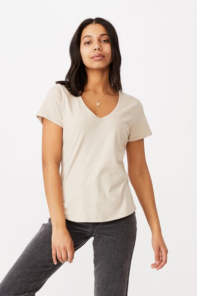 The One Fitted V Tee, LATTE