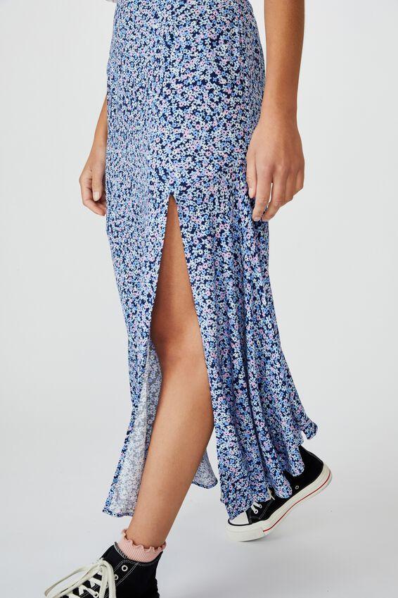 Tahli Split Midi Skirt, QUINN DITSY MEDIEVAL BLUE