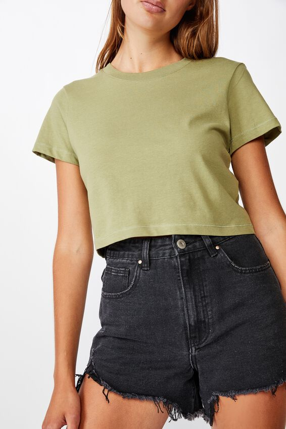 The One Baby Tee, OIL GREEN