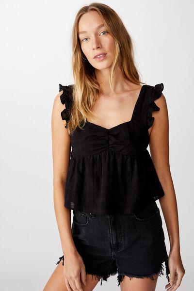 Babydoll Frill Sleeve Top, BLACK